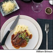 Tangy Glazed Short Ribs and Potato Puree With Aged Cheddar