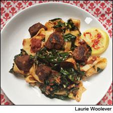 Pappardelle With Braised Goat, Black Kale, Preserved Lemon and Harissa