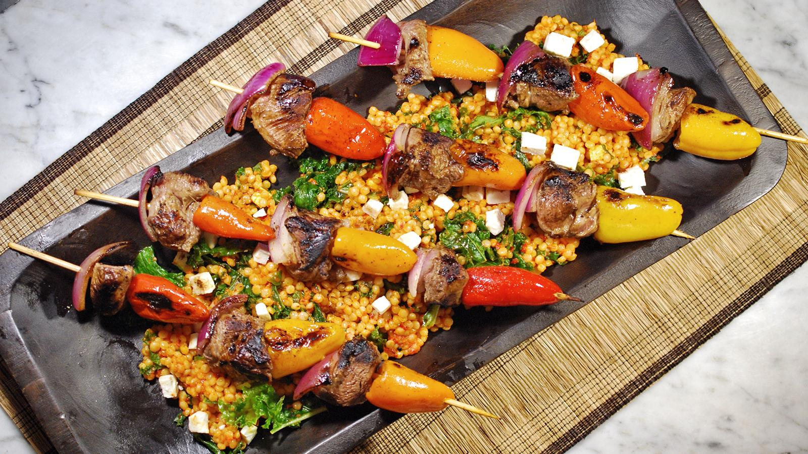 8 20 Recipe Lamb Kebabs With Israeli Couscous Salad Wine Images, Photos, Reviews