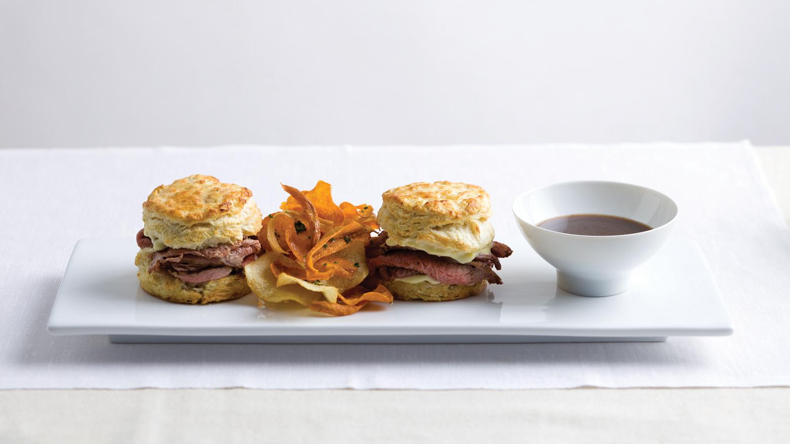 Colorado Lamb Dip Sandwich with Goat Cheese Rosemary Biscuits and Lamb Jus