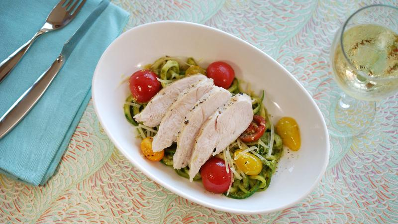 8 & $20: Chicken Breasts with Pesto 'Zoodles'