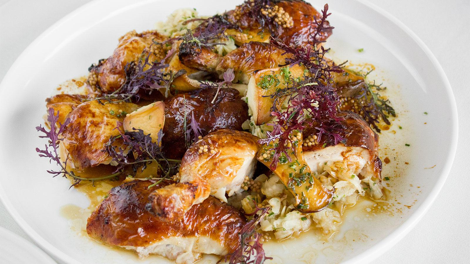 Roast Chicken with Celery Root, Mushrooms and Pickled Mustard Seeds