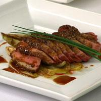 Spice-Crusted Duck Breast with Braised Endive & Natural Jus