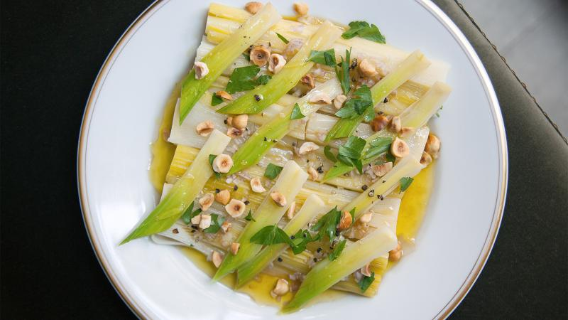 A leek and hazelnut dish at Le Coucou