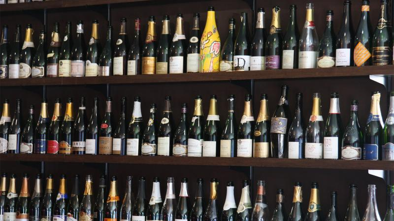 Wall of Champagnes at Pix Pâtisserie & Bar Vivant