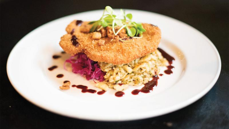 """""""Otto's duck schnitzel on a bed of spaetzle"""""""