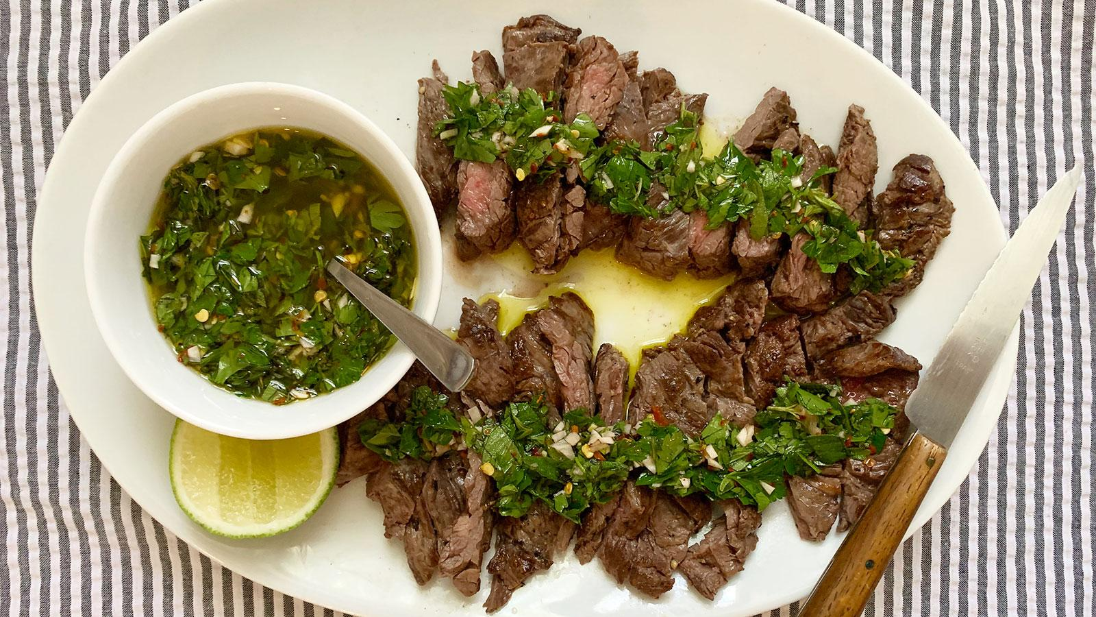 8 & $20: Skirt Steak with Chimichurri Sauce