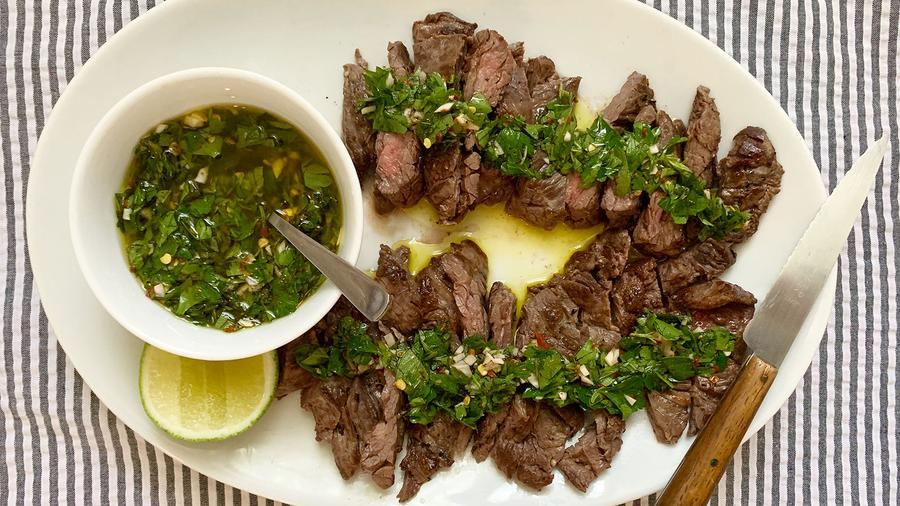 Lime isn't traditionally part of chimichurri, but it adds an extra brightness to the summery sauce.