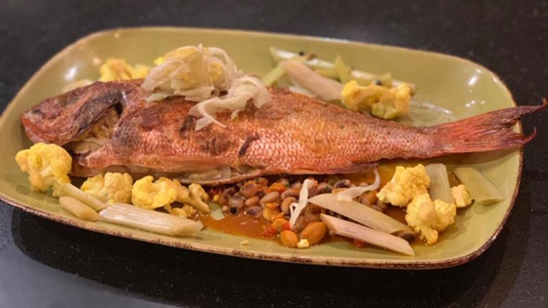whole roasted red snapper