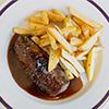 Steak frites with caramelized shallots and bone marrow jus