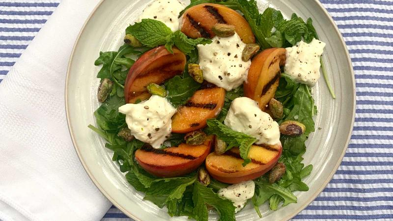 8 & $20: Grilled Peach and Burrata Salad