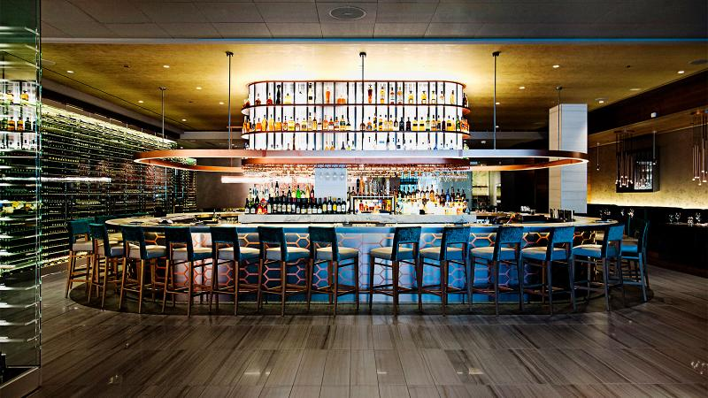 The bar and wine display at Del Frisco's Double Eagle Steakhouse