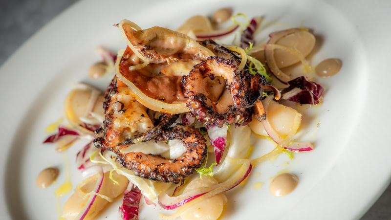Grilled Portuguese octopus with gigante beans and balsamic vinaigrette