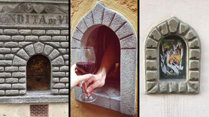 Three buchette del vino in Florence, one active