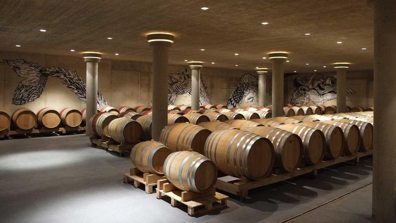 The barrel room at Neumeister winery