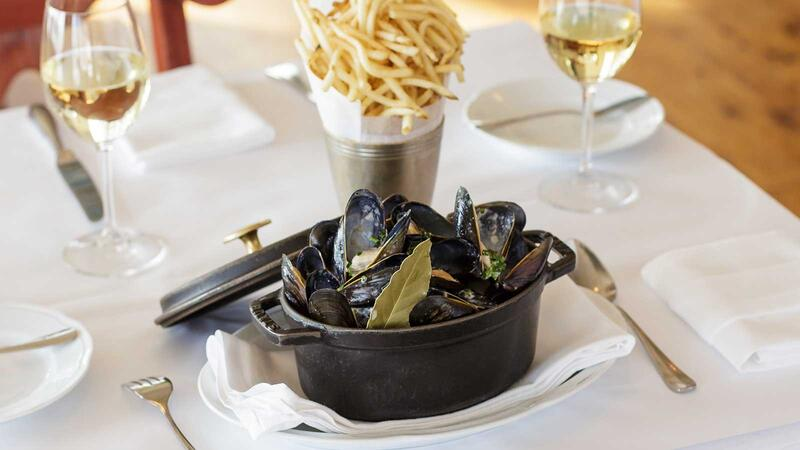 Mussels and white wine at Bartolotta's Lake Park Bistro