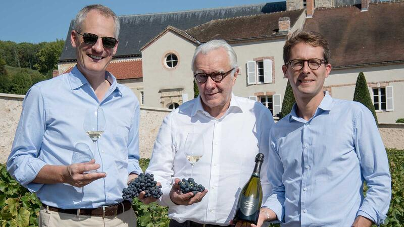 Moët Hennesy CEO Philippe Schaus, Alain Ducasse and Dom Pérignon head winemaker Vincent Chaperon