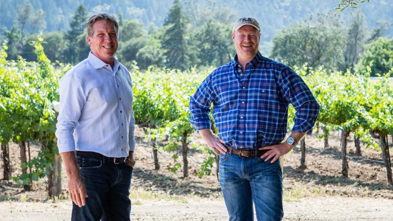 Rick Mirer (left) and winemaker Kirk Venge