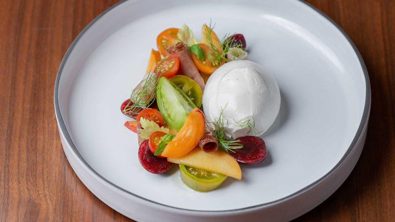 Burrata with cherry tomato and pickled cherry