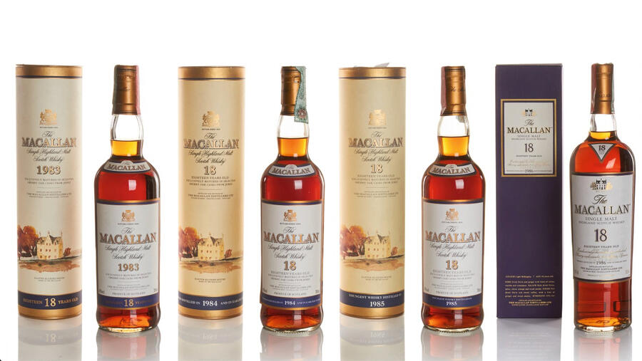 Rare whiskeys, like these bottles of Macallan sold at Sotheby's London in October, continued to fetch higher prices from collectors.