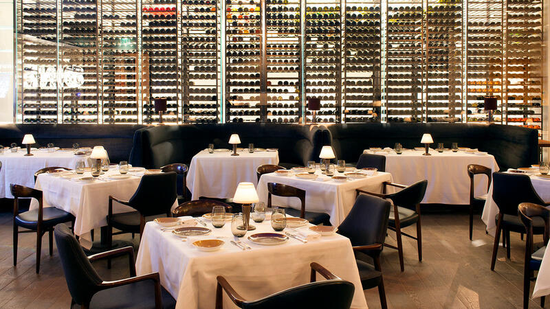 Spago Beverly Hills' display cellar in the dining room