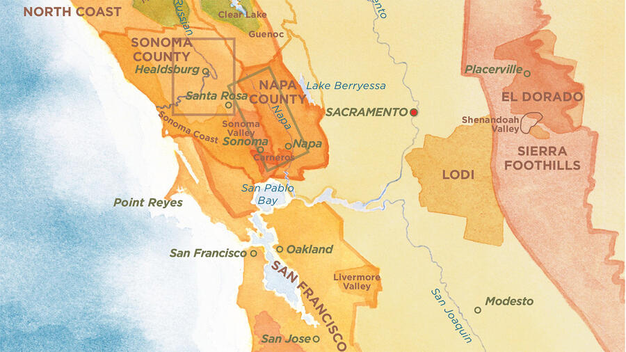 A map of Northern California's wine regions