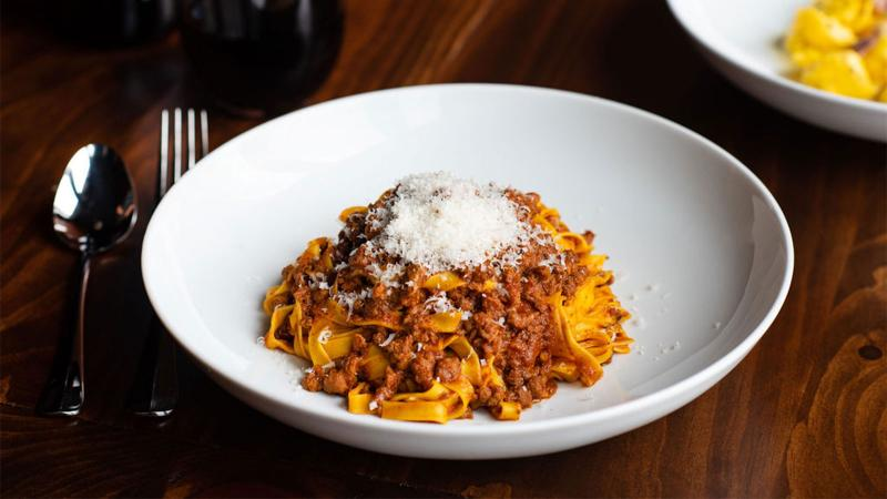 Tagliatelle with red wine
