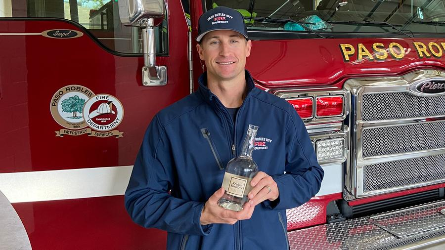 The Paso Robles Fire Department just got backup in the form of a hand sanitizer shipment from Krobar Distillery. Yes, that's a liquor bottle it came in.