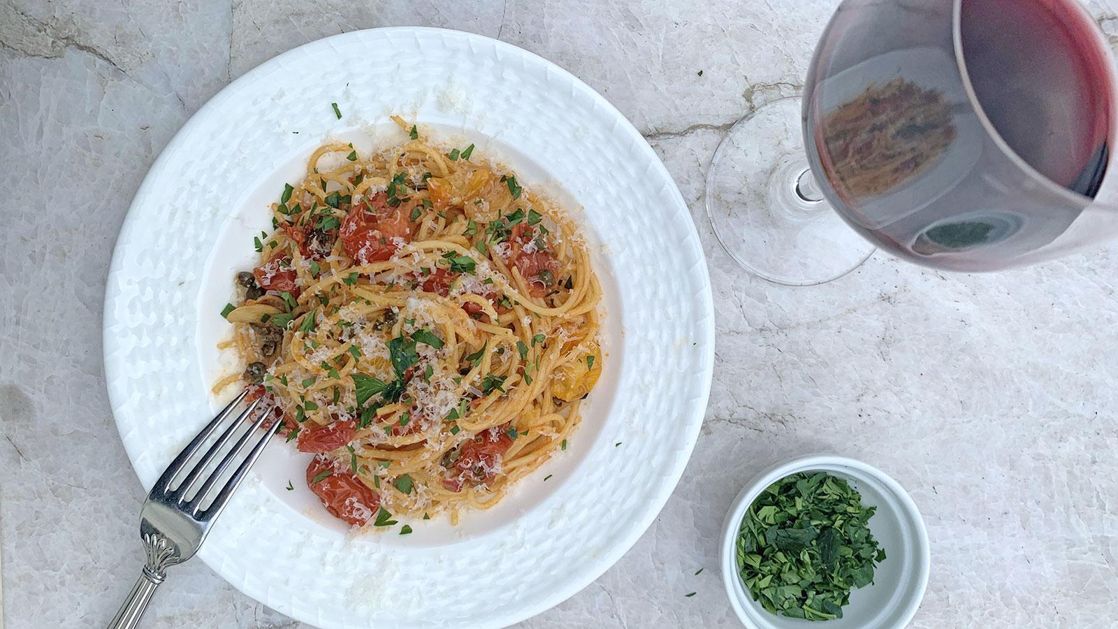8 & $20: Spicy Pantry Pasta with Capers and Pan-Roasted Tomatoes
