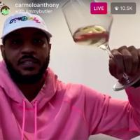 "Carmelo Anthony (left) and Jimmy Butler swish during their chat on ""What's in Your Glass?"""