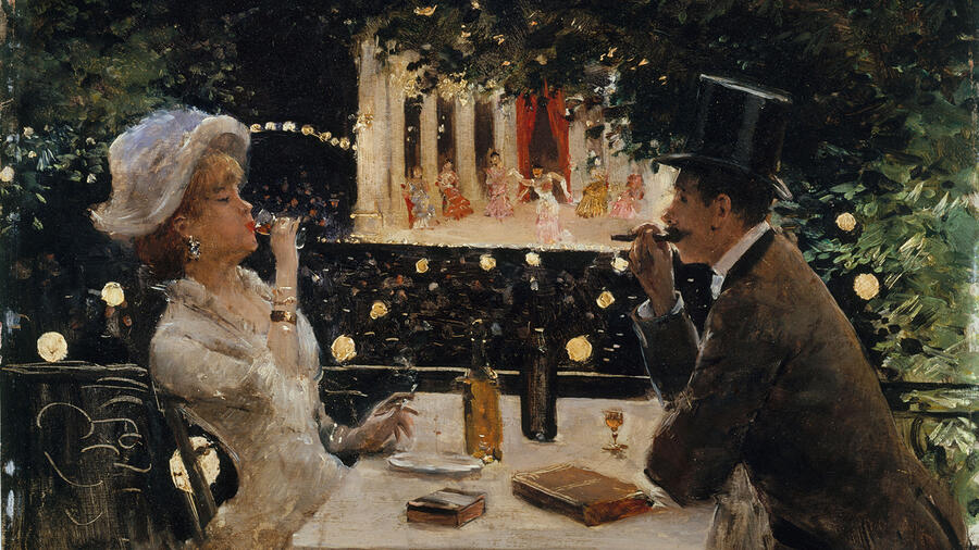 An oil painting of two 19th-century people drinking wine
