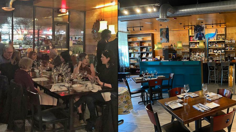 In order to reopen, It's Italian Cucina in Austin, Texas, had to rearrange its dining room from full capacity (left) to 25 percent capacity (right).