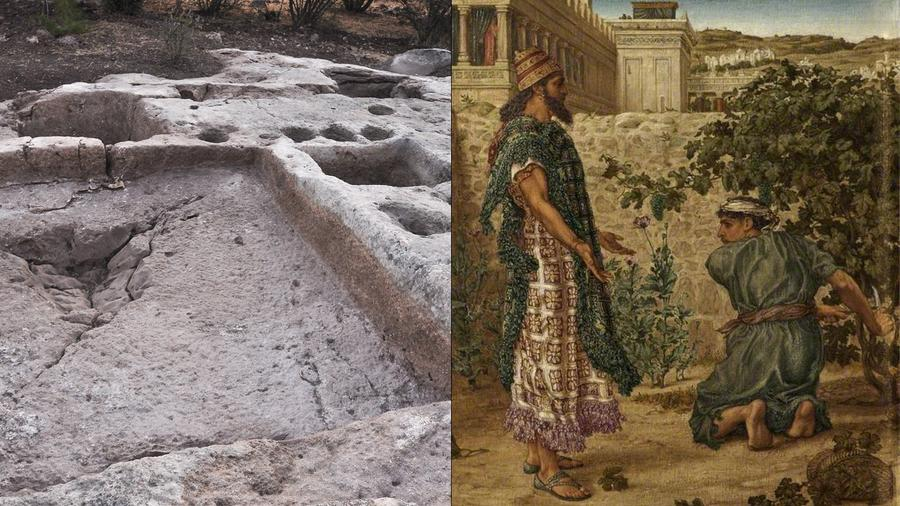 Left: the winery site, which may be more than 2,500 years old, with treading floor in the foreground. Right: