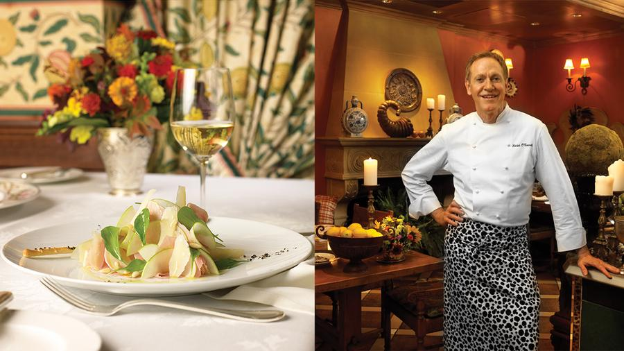 "The salad's airy presentation earned it the nickname ""the Fluffy;"" chef Patrick O'Connell sports his signature Dalmatian-print apron in a 2004 Wine Spectator photo shoot."