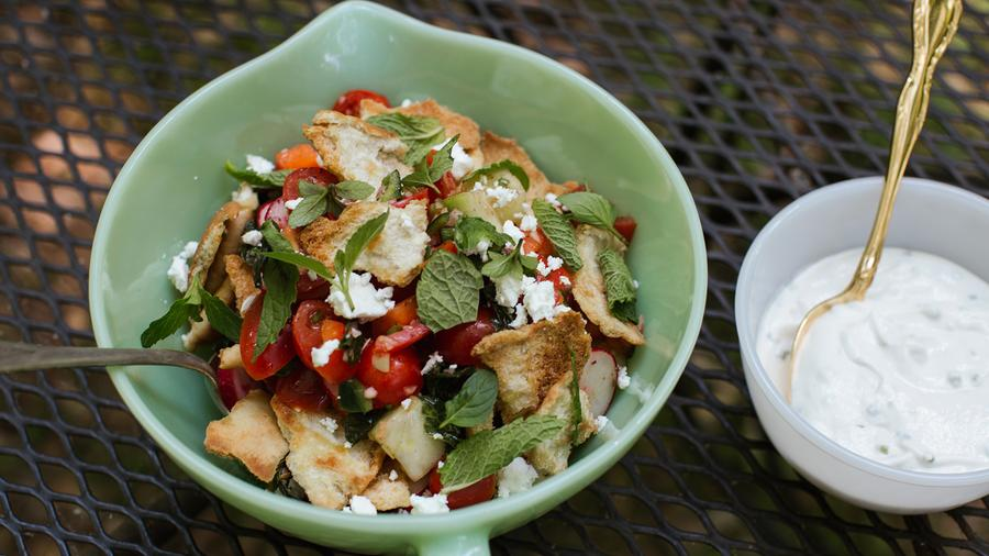 This recipe for fattoush, a Lebanese staple, is easy to assemble and can be made up to an hour in advance.
