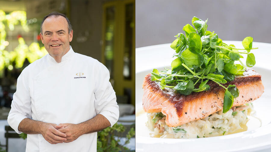 Among the offerings from chef Charlie Palmer's new takeout program is gently cooked Ora King salmon with basil-lemon gremolata.