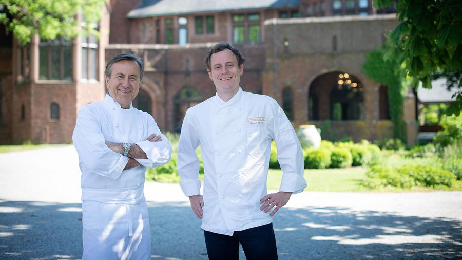 Executive chef Jerrod Zifchak (right) helms the kitchen at Daniel Boulud's Berkshires pop-up this summer.