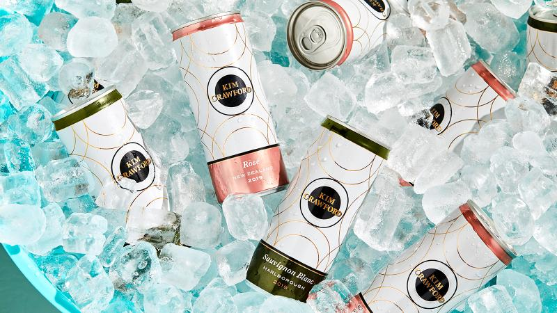 Cans of Kim Crawford wine on ice