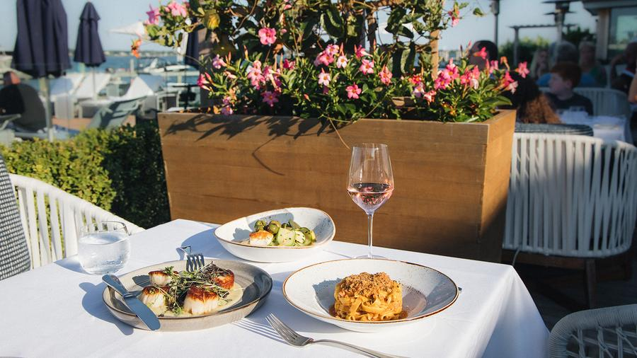 Beachfront views of Lake Montauk are a summer-suited part of the outdoor-dining experience at Showfish.