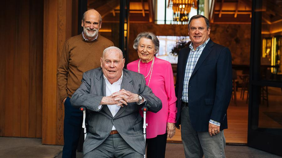Dolores Cakebread with her husband, Jack, and sons Dennis, left, and Bruce