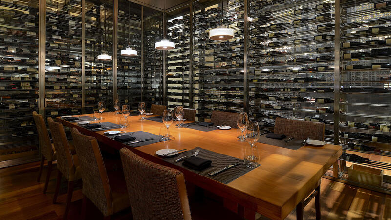 The private-dining wine room at Wolfgang Puck Steak in the MGM Grand Detroit