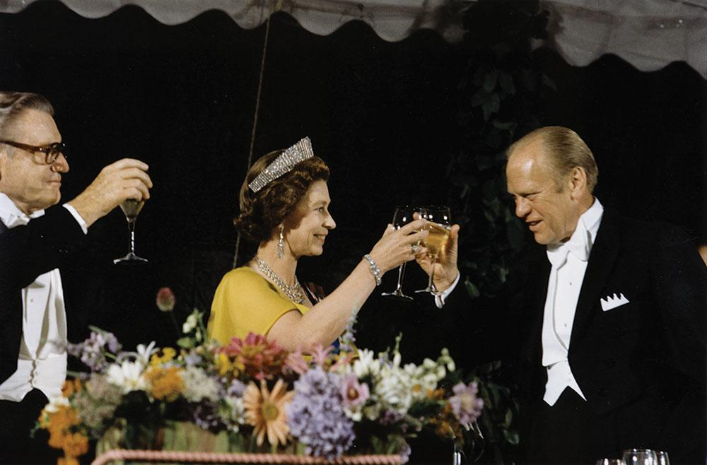 President Gerald Ford shares a toast with Queen Elizabeth II to celebrate the 200th anniversary of America's independence from Great Britain.