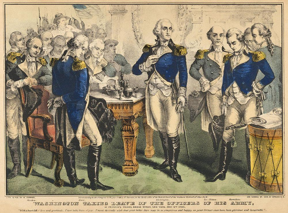 General George Washington makes a farewell toast to his officers at Fraunces Tavern in New York in 1783.