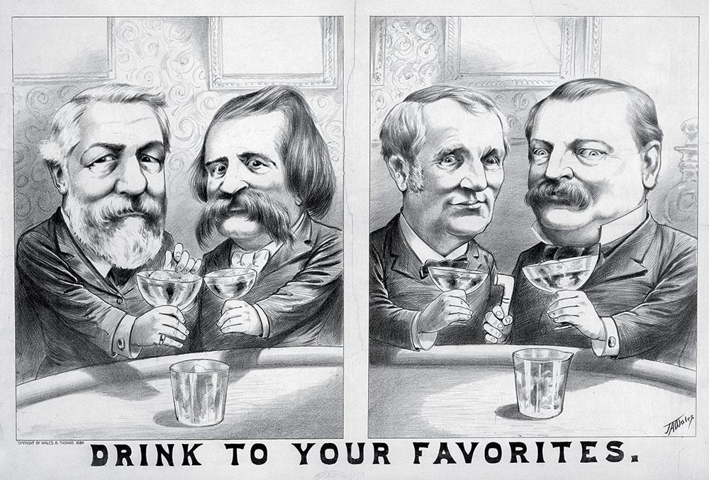 Cartoon from the 1884 election. From left to right: Republican James Blaine and his running mate John Logan, and Thomas Hendricks and Democratic then-candidate Grover Cleveland