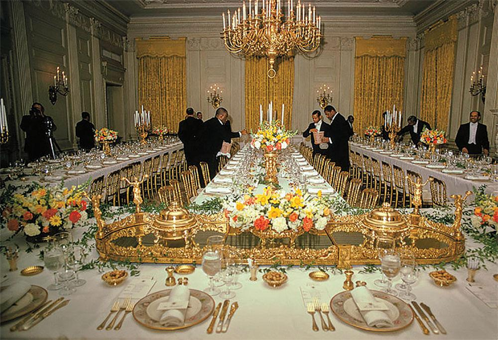 White House butlers prep a State Dinner in 1970.