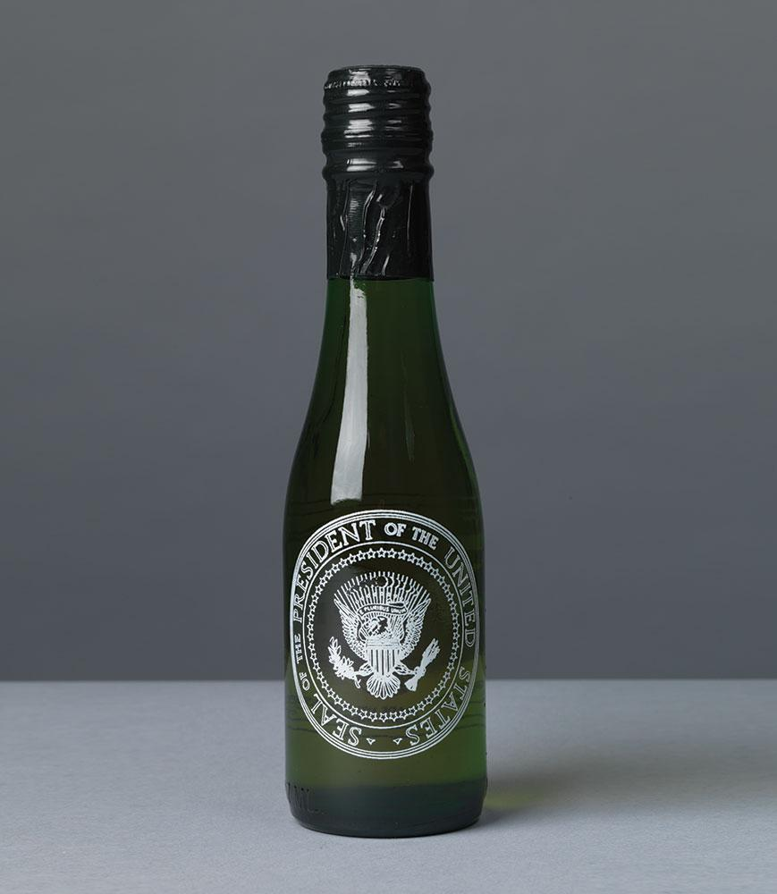 Half-bottles of Great Western Natural Champagne (from New York) bearing the Presidential Seal were well-stocked in a small fridge exclusively for Ronald Reagan's box at the Kennedy Center.