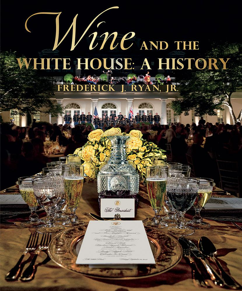 The front cover of the book shows an engraved wine decanter given to President James Madison in 1816.