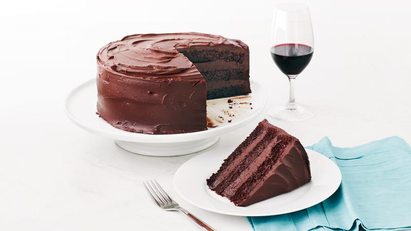 Chocolate layer cake with a slice cut out