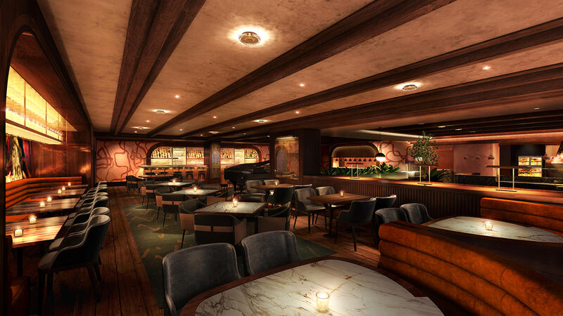 Rendering of Olives dining room