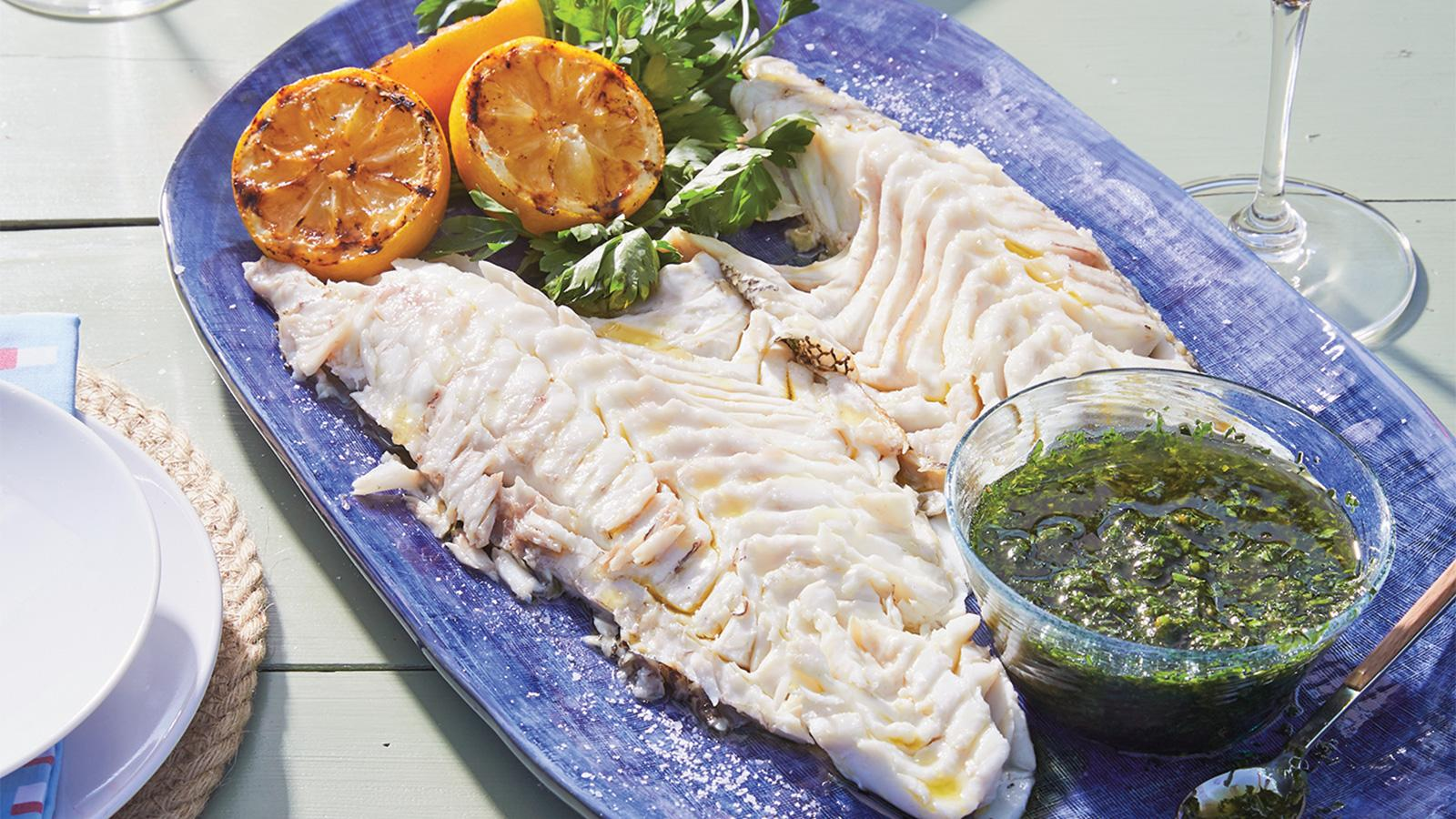 Whole Grilled Black Bass with Salsa Duo